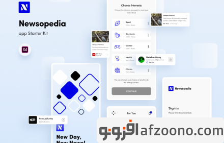دانلود طرح لایه باز رابط کاربری Newsopedia App Starter Kit