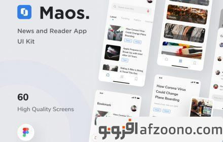 دانلود طرح لایه باز رابط کاربری خبرخوان Maos - News And Reader App UI Kit
