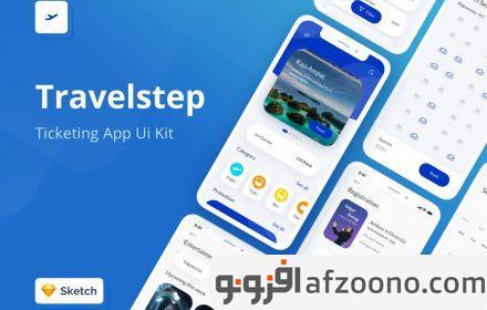 دانلود طرح لایه باز رابط کاربری Travelstep Mobile Apps UI Kit